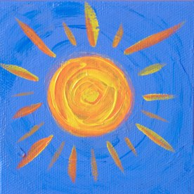 "Bright, Bright Sunshiny Day; Acrylic on canvas 4""x4"""