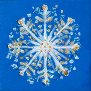 "Snowflake; Acrylic on canvas 3""x3"""