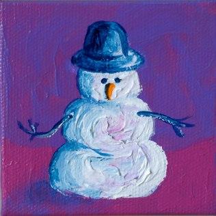 """Snowman; Acrylic on canvas 3""""x3"""""""